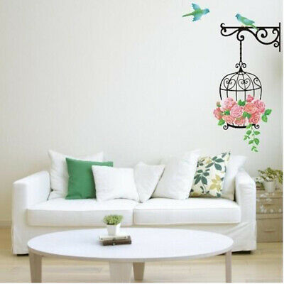 Flower Bird Cage Wall Stickers Colorful Home Bedroom Removable Mural Decor LH