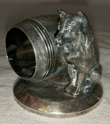 Victorian Silver Plated Napkin Ring Fox  James W Tufts BOSTON #1532