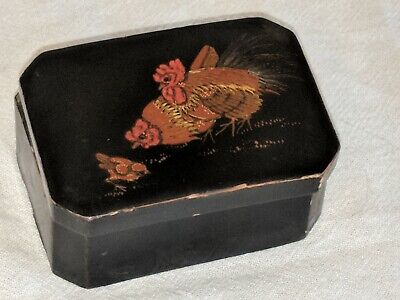 Vintage Hand Painted Wooden  Chicken Hen Rooster Chickens Trinket Jewelry Box