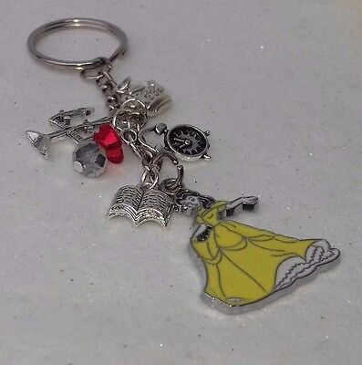 🌹 Gorgeous Disney Inspired Beauty & The Beast Belle and Friends Keyring 🌹