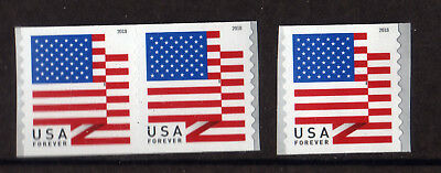 #008 US Stamp#5260 (50c Forever) US Flag Coil Single & Pair Set APU 2018 MNH