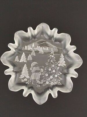 Bon Bon/Candy Dish Christmas/Winter Scene MIKASA CRYSTAL GLASS Clear & Frosted