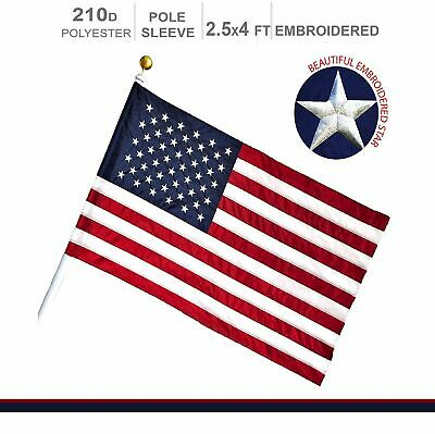 American Flag US | 2.5x4 ft | POLE SLEEVE Embroidered Stars **G128**