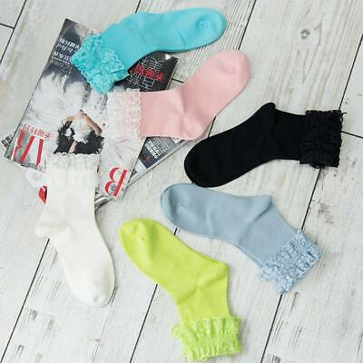 Vintage Lace Ruffle Frilly Ankle Socks Princess Girls Solid Color Cotton Socks a