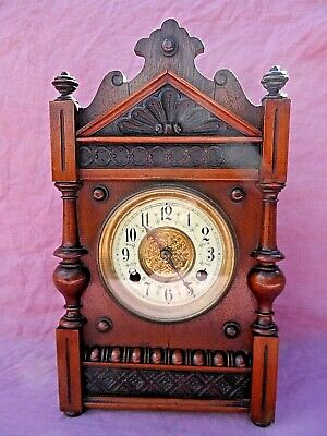 "Antique Oak Cased American Striking Mantle Clock 14"" Tall Lovely Condition Gwo"