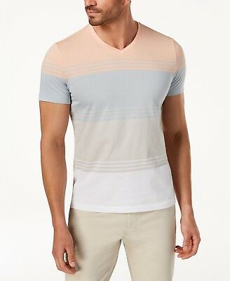 c47b20f39bd3 Alfani Men's Colorblocked Striped V-Neck T-Shirt, Peachy Keen Small NEW W