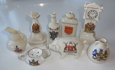 LOT Of Vintage CRESTED WARE China, SUNDIAL, Grandfather CLOCK, PIG, SCOTCH etc