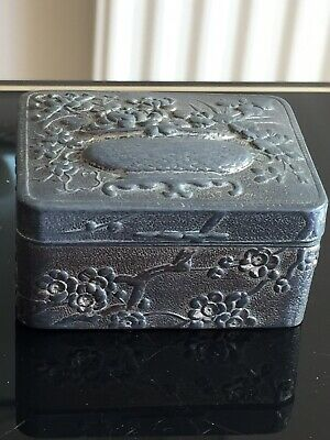 Antique Chinese Cherry Blossom Floral Planter/Stand Pewter Snuff Trinket Box
