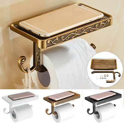 Wall Mounted Toilet Roll Paper Tissue Holder Stand Mobile Phone Shelf Bathroom