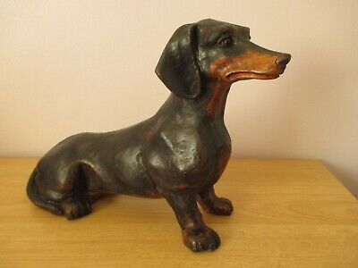 """Large 13.5"""" Black Forest Dachshund Dog Swiss Wood Carving"""