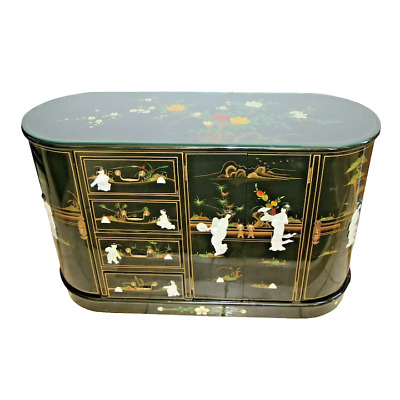 Vintage Asian Buffet  Black Mother of Pearl 4 drawer 3 cabinets wine glass racks