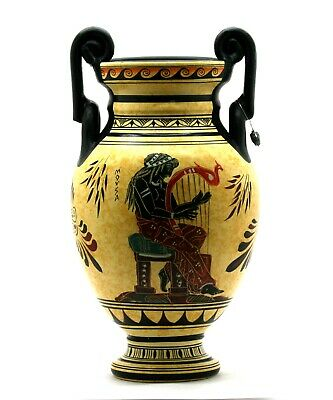 Muse playing lyre Amphora Vase Ancient Greek Pottery Ceramic 11.4in
