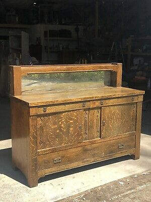 Stickley Era Mission Oak Arts And Crafts Buffet Server Sideboard W/ Mirror