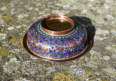 Antique Kashmir enameled copper bowl 19th century Indo-Persian Islamic dish