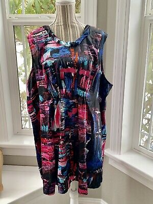 0f626bff0374f Lane Bryant Womens Plus Size 26 Gorgeous Pink, Blue & Black Tunic Tank Top  BNWT