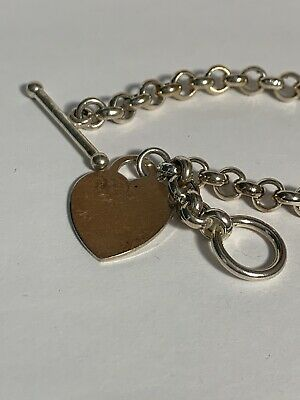 Sterling Silver 925 Toggle Bracelet w/ Engravable Heart Tag