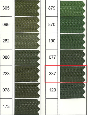 Full Continuous Roll of size 3 Dark Moss Green (237) Nylon Zip with Lots of slid