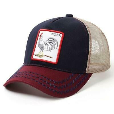 Baseball Cap Snapback Hip Hop Hat Mesh Animal Embroidery Cock Rooster Wolf Lion