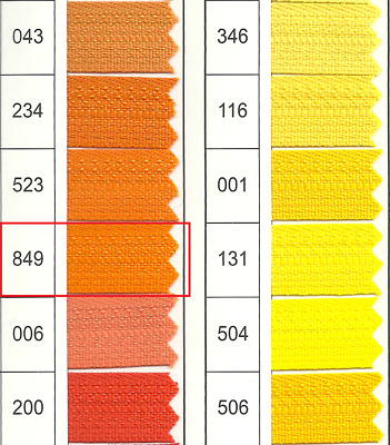 Full Continuous Roll of size 3 Orange (849)) Nylon Zip with Lots of sliders