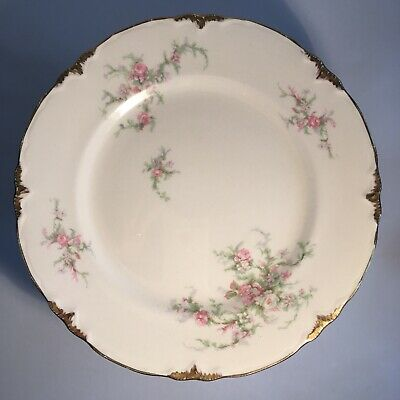 """Vintage 1940's Taylor Smith and Taylor Pink Floral Dinner Plate 9 3/4"""" Dia."""