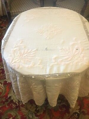 Ultimate Antique Shabby Chic Tablecloth Embroidered Hand Crochet Panels Vintage
