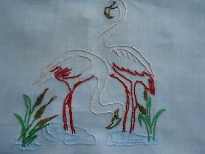 Beautiful Linen Runner, White With Hand Embroidered Flamingos, Circa 1930