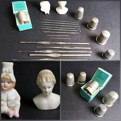 Antique Sewing Tools (2) Silver Thimbles Inc. Boxed Dreema &.morrall's Hooks