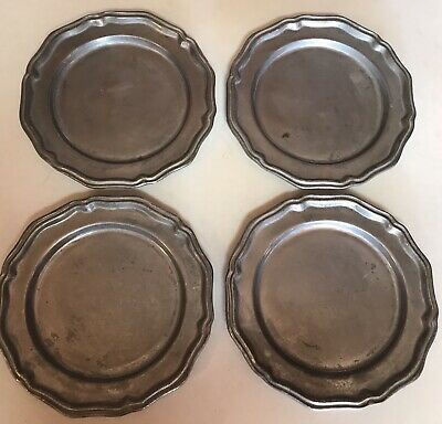 "Set Of 4, 10"" Vintage Crown Castle Ltd. Pewter Queen Anne Plate (9.75"") Usa"