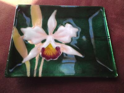 Japanese Ando Cloisonne enamel on bronze white gold Orchid emerald green Dish