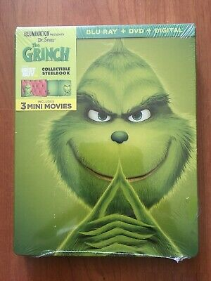 Dr. Seuss' THE GRINCH EXCLUSIVE STEELBOOK Blu-ray/DVD/Digital HD, 2018) New