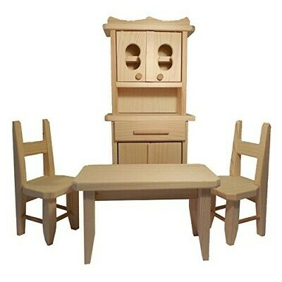 Obique Children's Natural Pine Wooden Toy Kitchen for Dolls and Barbie Dolls
