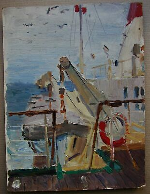 Russian Ukrainian Soviet Oil Painting seascape impressionism ship boat deck