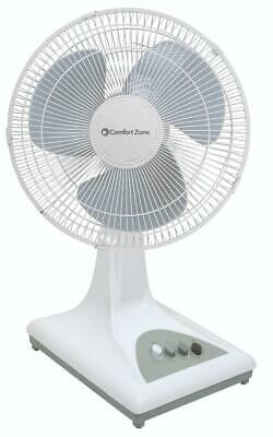 "Comfort Zone CZ161 Oscillating Table Fan 16"" White"