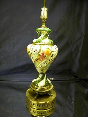 Vintage Capodimonte Green White Porcelain Table Lamp 7-14 Made in Italy