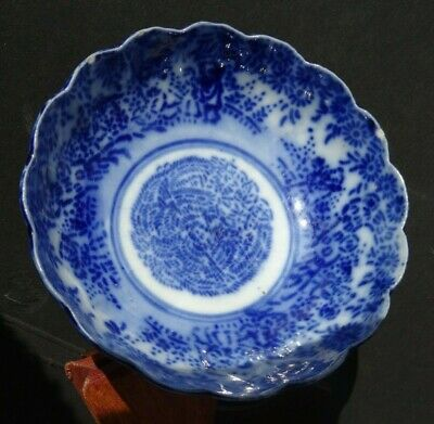 Antique Japanese Imari  Meiji Scalloped Bowl Blue & White 13Cm