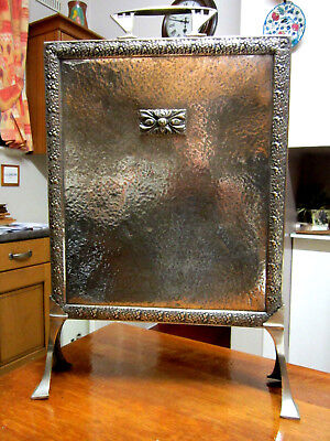 Old Brass Hammered Finish Edwardian Style Fireside Hearth Screen c1920