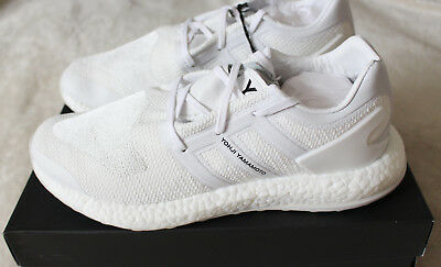 bab6e9748 New Adidas Y-3 Pureboost Pure Boost ZG Knit Triple Crystal White UK 10.5 US