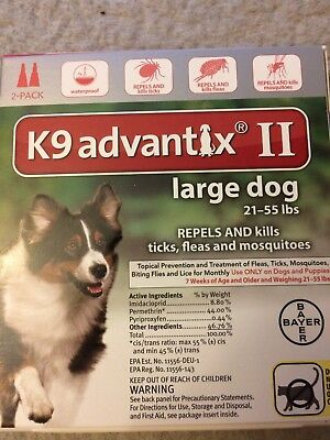Bayer K9 Advantix II for  Large Dogs 21-55 lbs - 2 Doses  - Fast FREE Shipping!