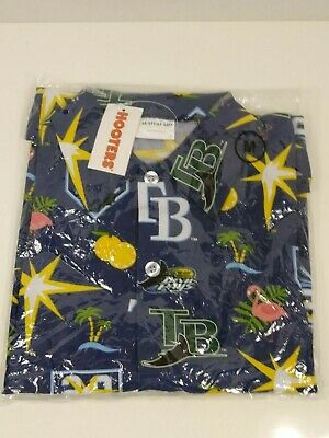 Hooters Tampa Bay Rays button down shirt MEDIUM 20 years giveaway promo NWT