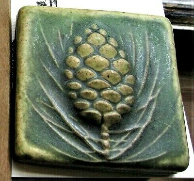 Detroit Art PEWABIC POTTERY WINTERBERRY TILE relief carved PINE CONE matte green