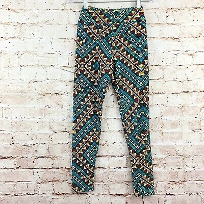 Lularoe Girls Tween Kids Aztec Leggings One Size Yellow Blue Multi Color