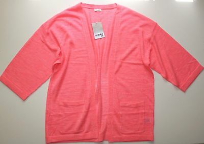 Next - Coral Pink Soft Linen Knitted Kimono Cardigan - Girls 14 Years – New