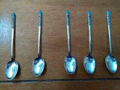 Chinese Silver Enamelled Teaspoons - Early 20th Century