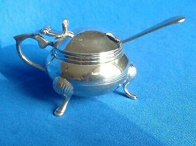Vintage Or Antique White Metal Mustard Or Other Condiment Pot With Spoon