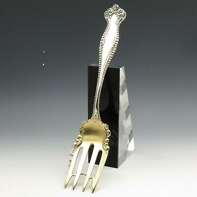 Towle Canterbury Gold Washed Lrge Cold Meat Serving Fork Sterling Silver 64g