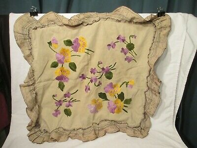 Antique embroidery pillow cover sham Lace trim Beautiful Floral