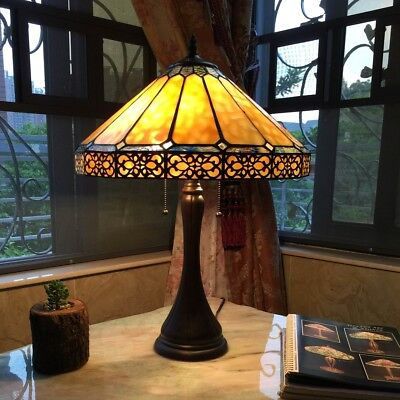 "Tiffany Style Mission Arts & Crafts Stained Glass 23"" Table Desk Lamp 16"" Shade"