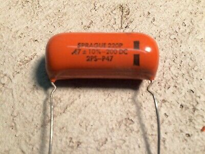 3 X SPRAGUE .47 MF ( .47 uF ) X 200 VDC ORANGE DROP CAPACITOR - NOS
