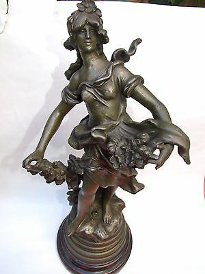 """Antigue  """"Auguste Moreau"""" French Maiden Spelter Statue Signed Wood Base1890's"""