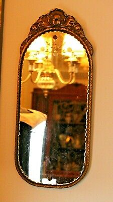 Antique 1700-1800s Carved Wood Gold Gilt Mirror with Etching and Scalloped Edges